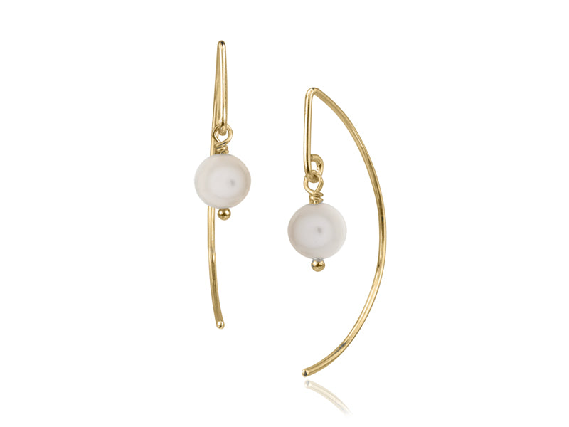 Pamela Lauz - Lantern White Pearl Simple Dangle Earrings  - Gold