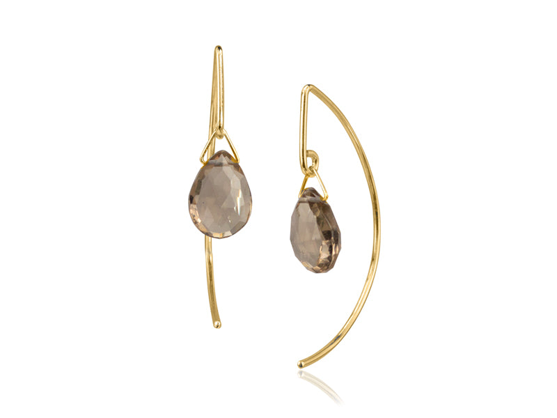 Pamela Lauz - Lantern Smokey Quartz Simple Dangle Earrings  - Gold