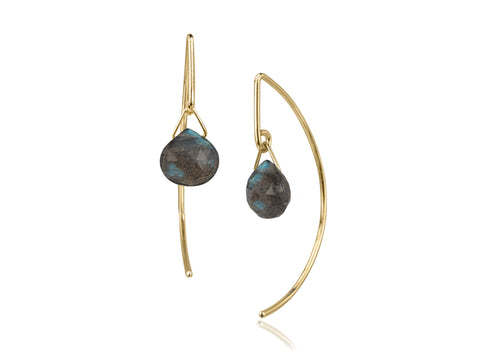 Aqua Aquamarine Gold Bezel Curved Stud Earrings