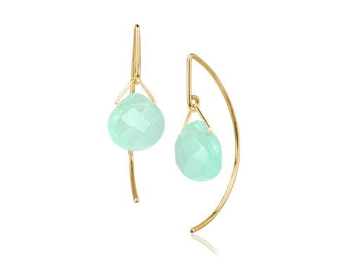 Pamela Lauz - Lantern Ocean Quartz Simple Dangle Earrings  - Gold