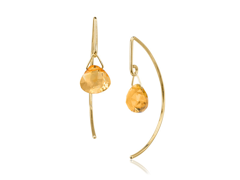 Pamela Lauz - Lantern Citrine Simple Dangle Earrings  - Gold