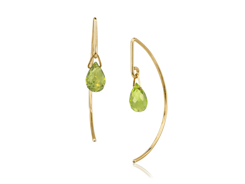 Pamela Lauz - Lantern Simple Peridot Dangle Earrings  - Gold