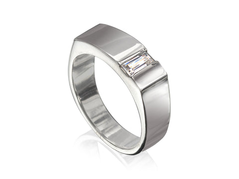 White Gold and Blue Topaz Fitted Wedding Band