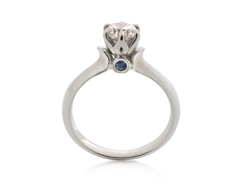 Tulip Diamond and Sapphire Engagement Ring