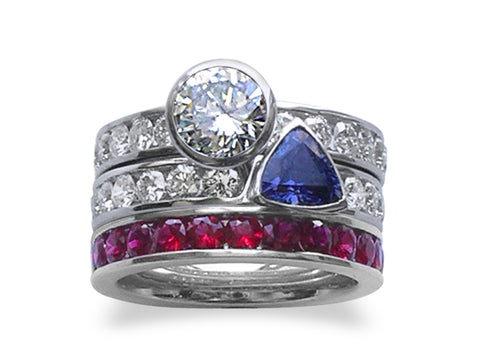Sapphire and Diamond Wide Rosette Ring
