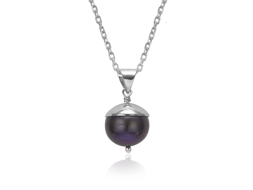 Pamela Lauz - Acorn Black Pearl Silver Necklace