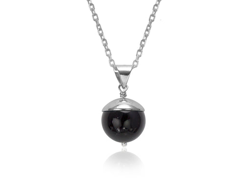 Pamela Lauz - Acorn Black Onyx Silver Necklace