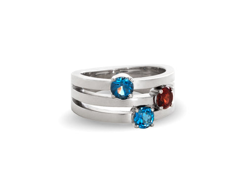 Blue Topaz and Garnet White Gold Family Ring