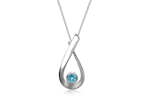 Pamela Lauz  - Aqua Small Swiss Blue Topaz Small Necklace