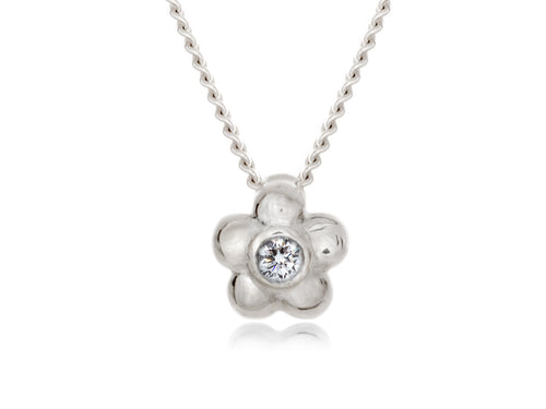 Pamela Lauz - Blossom Dainty Diamond  White Gold Flower Necklace
