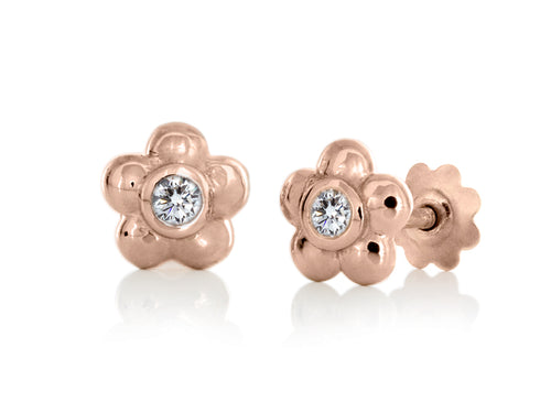 Pamela Lauz - Blossom Dainty Diamond and Rose Gold Flower Stud Earrings
