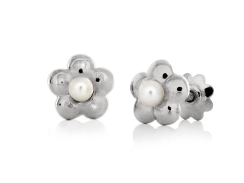 Pamela Lauz - Blossom Dainty Pearl Yellow White Flower Stud Earrings