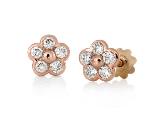 Pamela Lauz - Blossom Dainty Diamond Petals Rose Gold Flower Stud Earrings