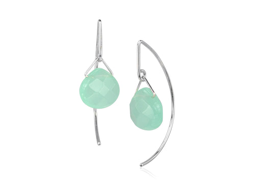 Pamela Lauz - Lantern Ocean Quartz Simple Dangle Earrings  - Silver