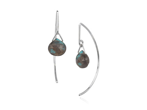 Pamela Lauz - Lantern Labradorite Simple Dangle Earrings  - Silver