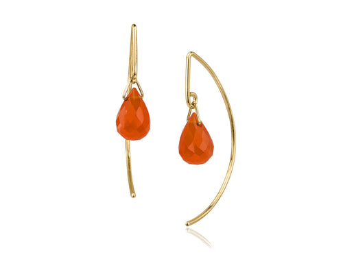 Pamela Lauz - Lantern Carnelian Simple Dangle Earrings  - Gold
