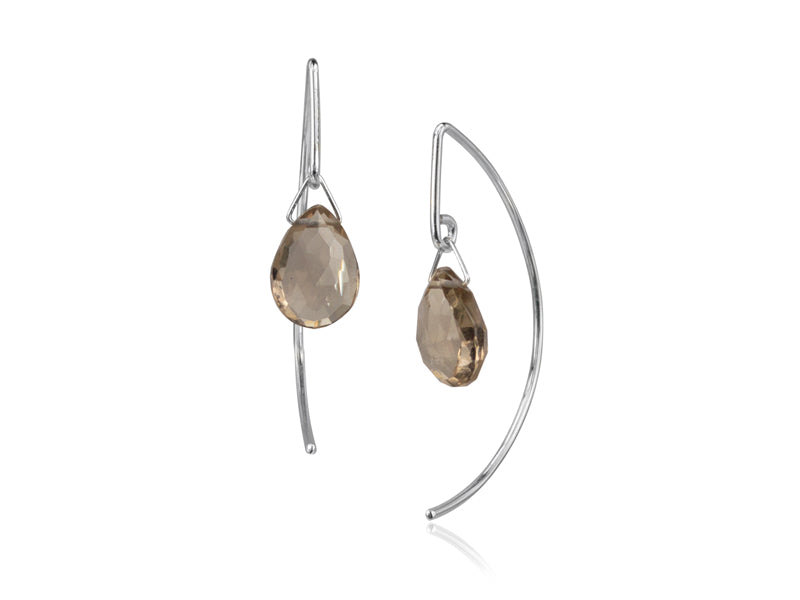 Pamela Lauz - Lantern Smokey Quartz Simple Dangle Earrings  - Silver