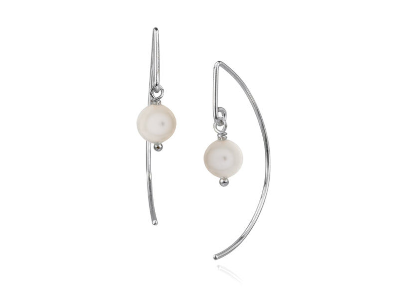 Pamela Lauz - Lantern White Pearl Simple Dangle Earrings - Silver