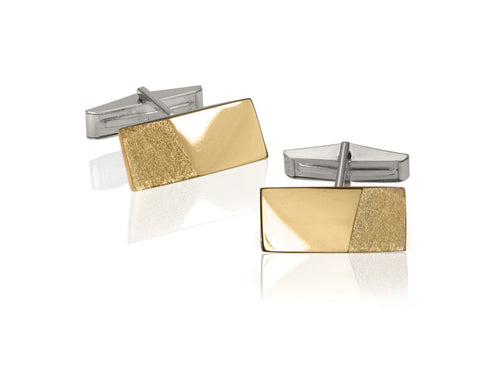 Pamela Lauz Jewellery - Edge Silver And Bronze Cufflinks