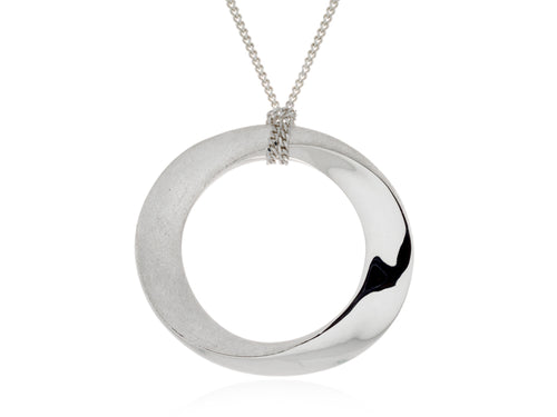 Pamela Lauz Infinity Grand Open Circle Silver Necklace
