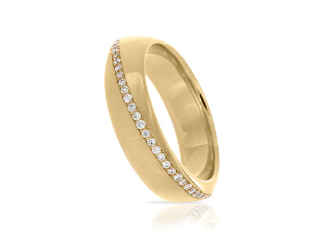 Marquise Vintage Gold and Diamond Wedding Band