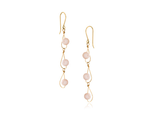 Pamela Lauz -  Rain Pink Pearl Dainty Trio Earrings Gold