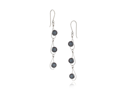 Pamela Lauz - Rain Black Pearl Dainty Trio Earrings Silver