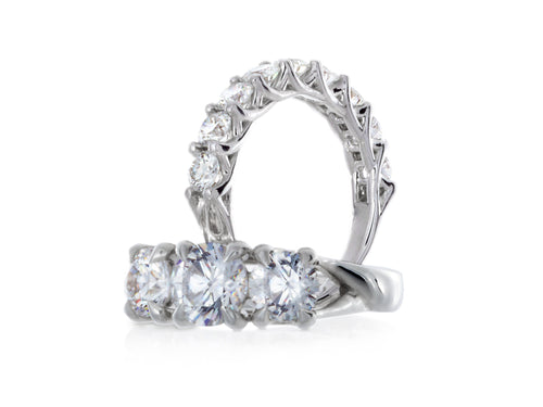 Pamela Lauz Jewellery - Interlaced Diamond Three-stone Wedding Rings