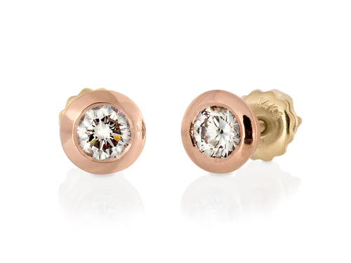 Pamela Lauz Jewellery - Confetti Rose Gold Diamond Earrings