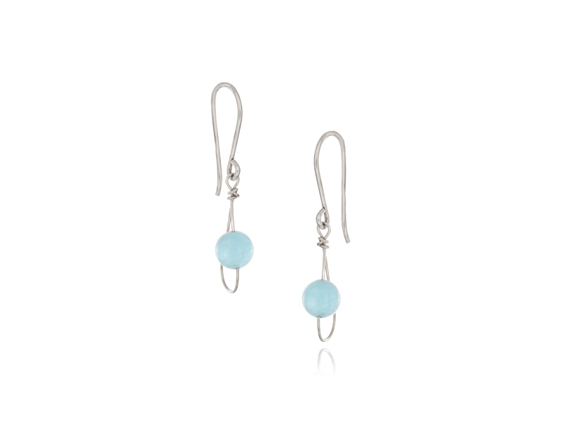 Pamela Lauz - Rain Aquamarine Dainty Single Earrings - Silver
