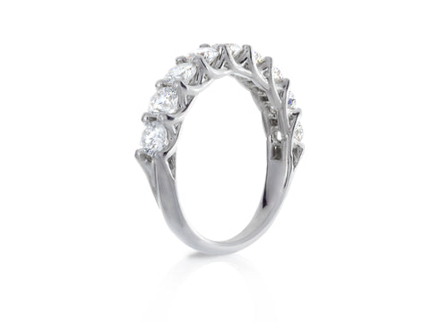 Rosette Double Scroll Diamond Eternity Band
