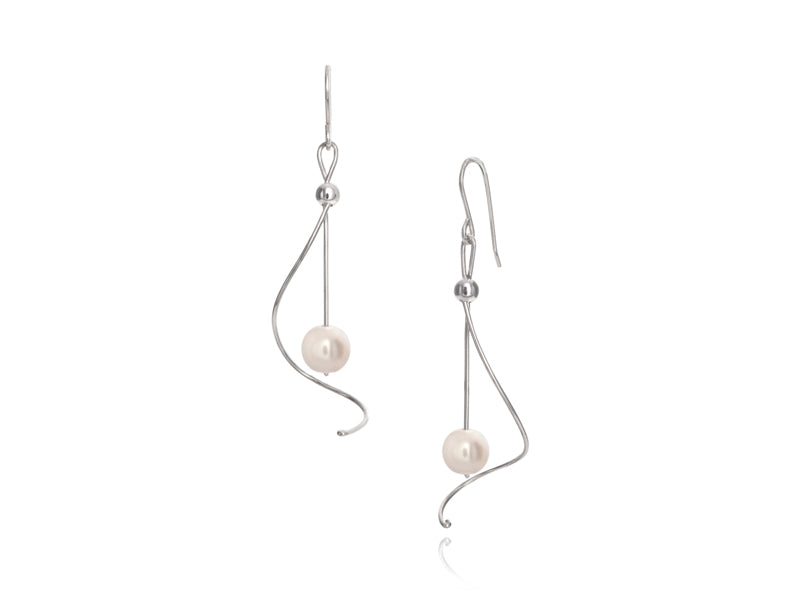 Pamela Lauz - Pirouette White Pearl Twist Drop Earrings - Silver