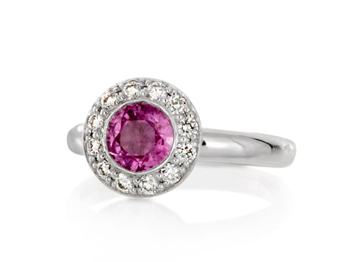 Pamela Lauz Jewellery - Dolci Pink Saphire And Diamond Ring