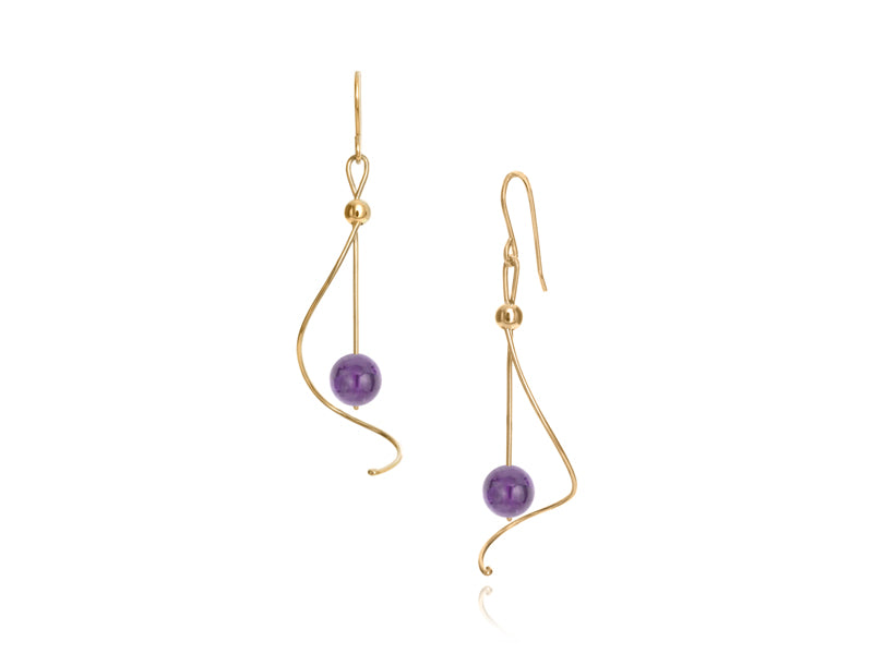 Pamela Lauz - Pirouette Amethyst Twist Drop Earrings - Gold
