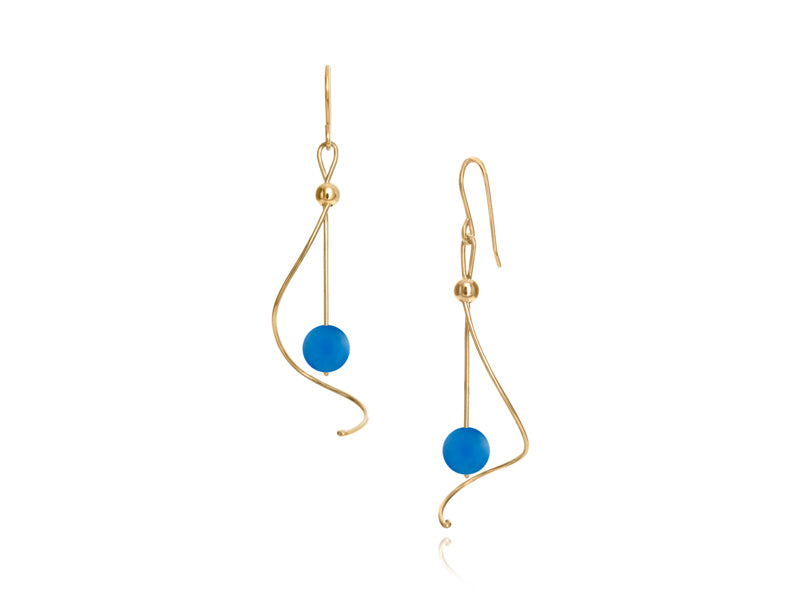 Pamela Lauz - Pirouette Blue Agate Twist Drop Earrings - Gold