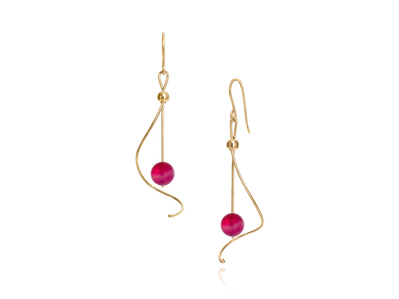Pamela Lauz Jewellery - Pirouette Pink Agate Earrings