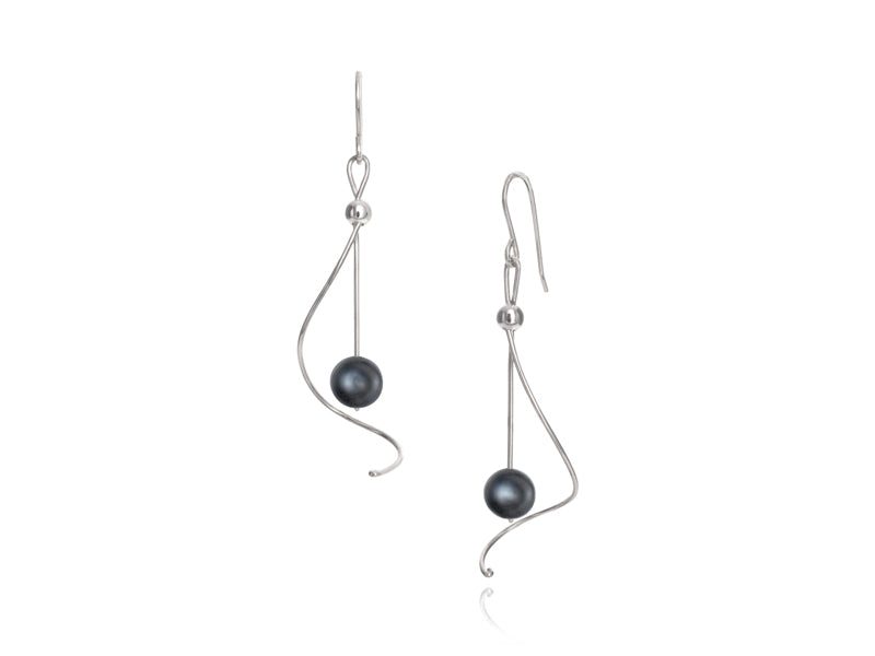 Pamela Lauz Jewellery - Pirouette Black Pearl Earrings