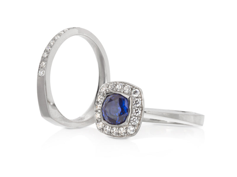 Pamela Lauz Jewellery - Diamond and Sapphire Halo Engagement Ring