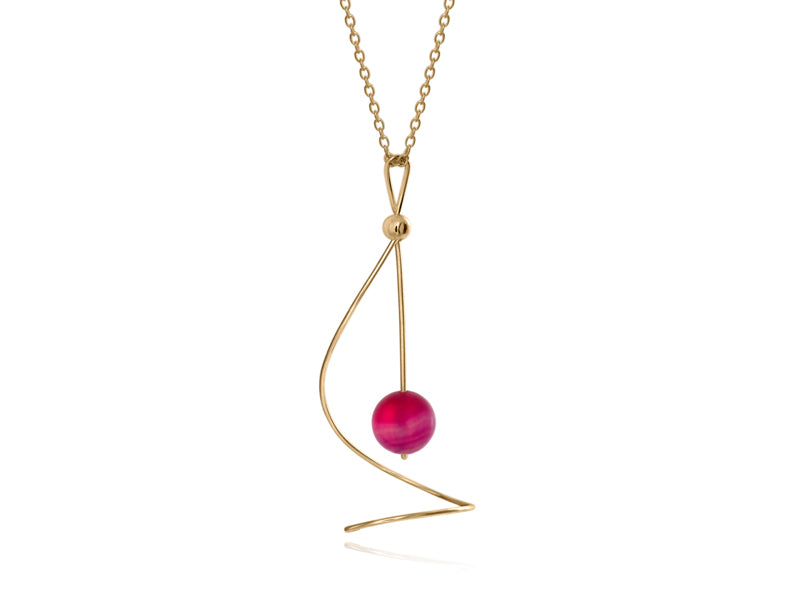 Pamela Lauz Jewellery - Pirouette Pink Agate Twist Necklace - Gold