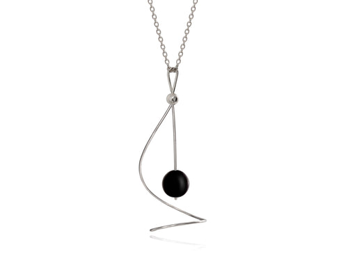 Pamela Lauz - Pirouette Black Onyx Twist Necklace - Silver