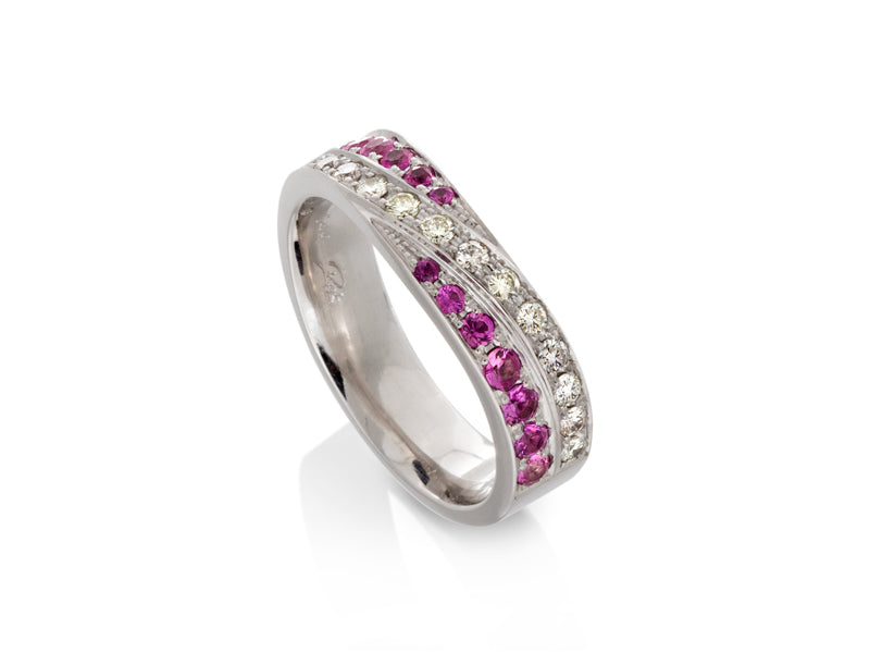Pamela Lauz Jewellery - Diamond and Pink Sapphire Wedding Band