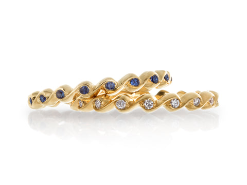 Diamond Baguette Eternity Band with Blue Sapphire