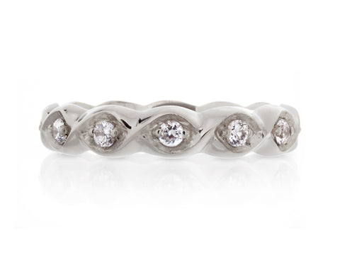 Kimono Diamond White Gold Wide Band