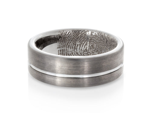 Pamela Lauz Jewellery - Tungsten Band with Engraved Fingerprint