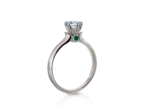 Tulip Aquamarine and Emerald Engagement Ring