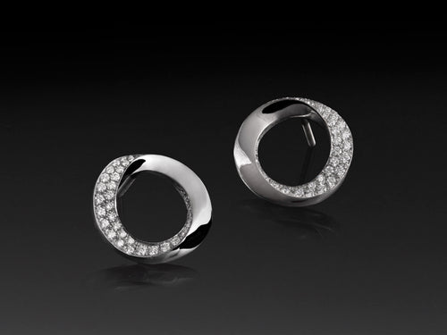 Pamela Lauz JInfinity Open Circle Diamond Pave Stud Earrings