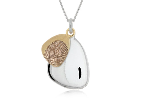Pamela Lauz  - Terra Duo Pebble Necklace with Engraved Fingerprints