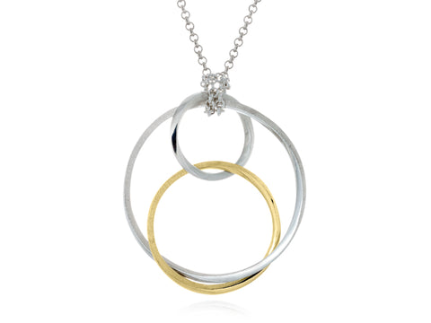 Mobius Large Orbit Silver and Bronze Pendant