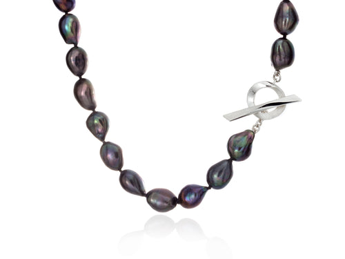 Pamela Lauz  Infinity Black Baroque Pearl Necklace
