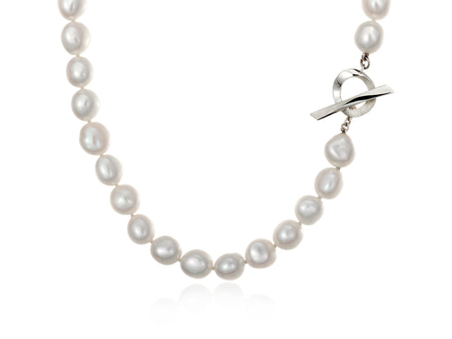 Pamela Lauz  Infinity White Baroque Pearl Necklace